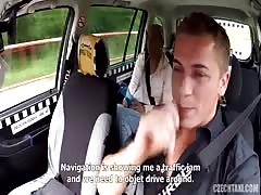 Babe is sucking driver's dick in the video by Czech Taxi