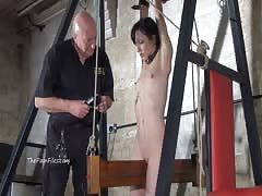 Extreme electro bdsm and wooden device bondage of slave Elis