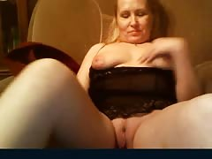 Chubby curvy Russian mature blonde shows off her wide pussy