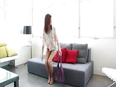 Amazingly sexy nerd slut undressing at Casting Couch X