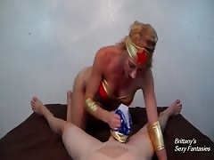 Cosplay Panty Handjob with Brittany Lynn as Wonder Woman
