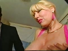 Big-breasted milf blonde is really enjoying cock-sucking