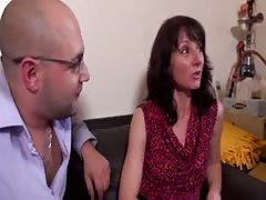 French mature in stockings does anal