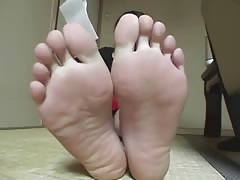 Asian showing her feet