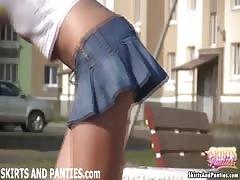 Florida flashing her panties outside her apartment