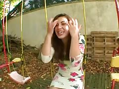 French teen Tiffanie loves to fuck in the garden