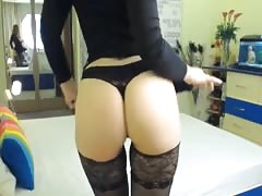Sexy big boob redhead flashing ass