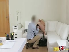 Tanned blonde is taking dick in the mouth at the casting