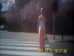 beautiful blonde in long skirt  ass candid