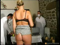 Perverted doctors are nailing slender blonde and playing with dildos