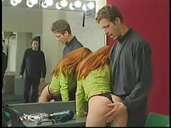Redhead babe gets ass smacked