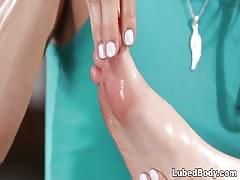 Bree Daniels does foot massage on Celeste Star