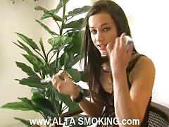 Elegant teen is enjoying smoking and fetish in the same time