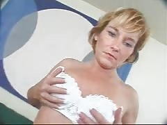 Mature pervert is falling down on the knees only to suck his cock