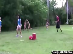 Crazy outdoor college games end up with girls flashing