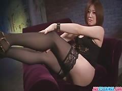 Ruri Haruka hot pussy rides dildo fast and hard